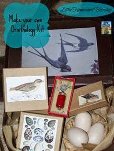 Little Homeschool Blessings: Making the Ornithology Kit: Great Homemade Gift Idea #homemadekitsforkids #ornithologykit #birdkit #birds