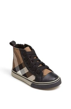 Burberry 'Tom' High Top Sneaker (Walker, Toddler, Little Kid & Big Kid) Black 32 EU