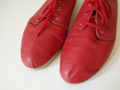 Vintage Flats  Red Leather 1980's Shoes