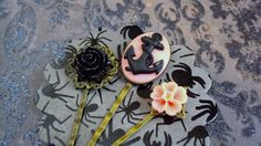 Pink and black color anchor cabochon 1 pink and 1 by SEVN7SEVN, $6.50