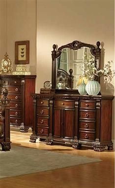 Orleans Traditional Rich Cherry Wood Glass Dresser