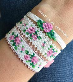 Loom Bracelet Patterns, Bead Loom Bracelets, Peyote Patterns, Loom Patterns, Beading Patterns, Bead Jewellery, Beaded Jewelry, Beaded Earrings, Beaded Bracelets
