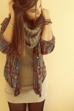 christmas flannel  mini skirt   diamond necklace  infinity scarf  tights   desert booties   gold watch