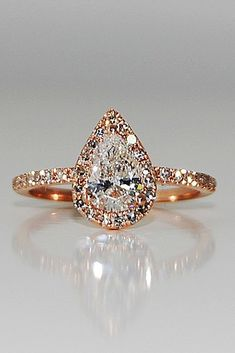 engagement ring inspiration halo pear cut rose gold pave band #UniqueEngagementRings