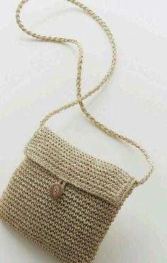 Straw Bag, Burlap, Reusable Tote Bags, Crochet, Crochet Projects, Tricot, Crochet Bags, Sacks, Bags