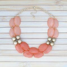 Coral & Peach Gold Jewel Gem Statement Necklace, Coral Wedding Bridesmaid Necklace Jewelry, Faceted Nugget Chunky Bead Necklace. Jeweled Bib
