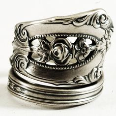 Spoon Ring Vintage Rose Point Pattern Sterling Silver by Spoonier