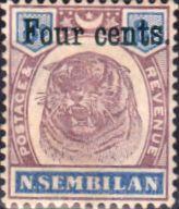 Negri Sembilan 1898 Surcharged Tiger SG 19 Fine Mint Scott 15 Other Asian and British Commonwealth Stamps HERE!