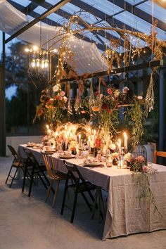 Reception table filled with dripping greenery, florals, twinkle lights and candles. Photo: @velvetlovephoto Boho Wedding, Wedding Flowers, Creative Wedding Inspiration, Real Weddings, Style, Swag, Bohemian Weddings, Outfits, Bridal Flowers