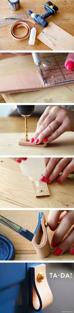Best DIY Projects: 5 easy steps to creating chic leather pulls!