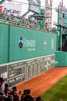 The Green Monster at Fenway Park - Is a Boston Red Sox baseball game at Fenway Park on your bucket list? Click inside to learn all about it with tips on getting there, getting tickets, where to eat, where to stay and much more! Baseball Buckets, Baseball Park, Red Sox Baseball, Baseball Socks, Baseball Games, Mlb Stadiums, Red Sox Nation, Fantasy Baseball, Green Monsters