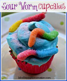 Sour Gummy Worm Cupcakes