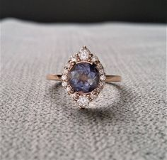 "Purple Iolite Diamond Engagement Ring Halo Bohemian Art Deco Indian Vintage Antique 14K Rose Gold Exclusive ""The Jasmine"" by PenelliBelle on Etsy"