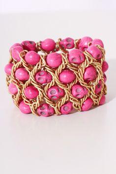 hot pink skull cluster gold bracelet