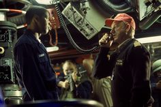 """Crimson Tide"" movie still, 1995.  L to R: Denzel Washington, Gene Hackman."