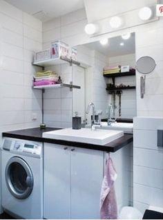 Washing machine in bathroom Small Washing Machine, Small Bathroom Vanities, Bathrooms, Cozy Apartment Decor, Bathroom Layout, Bathroom Ideas, Small Laundry Rooms, Inside Design, Ikea Kitchen