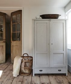 Wooden Armoire / Cabinet, Wicker Basket, Wooden French Doors, Entryway, Storage for Mudroom, Modern Farmhouse, Vintage, Antique Furniture