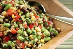 This unique salad doubles as a salsa! Lemon-dijon soy sauce dressing, red pepper, corn, edamame, black beans, cilantro, quinoa. So delicious, so healthy!