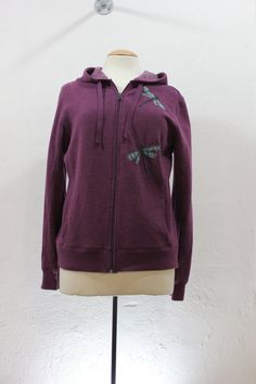 Purple Hoodie with Dragonfly Appliqué in Large by sardineclothing