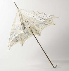 Parasol met dek van zijde met ingeweven motief van bloemen en vlinders, op houten stok met zilveren knop ingelegd met turkoois, anoniem, ca. 1895 - ca. 1905