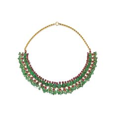 PROPERTY FORMERLY FROM THE COLLECTION OF MAMIE DOUD EISENHOWER: 14 Karat Gold, Emerald and Ruby Fringe Necklace.