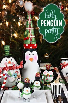 Holiday Penguin Party with penguin decor and ornaments from Pier 1