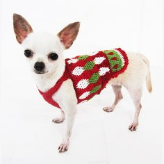 Christmas Dog Clothing Unique Handmade Crochet Puppy Clothes Red Green White Chihuahua Sweater Pets Apparel DF3 Myknitt - Free Shipping