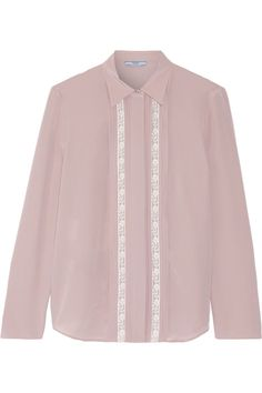 Lace-trimmed silk crepe de chine shirt by Prada