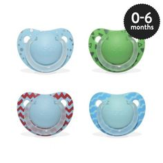 Boys 0-6 months Orthodontic Silicone Soother in assorted designs.