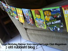 :: Lego Birthday Banners :: Using Upcycled Lego Club Jr. Magazines ::