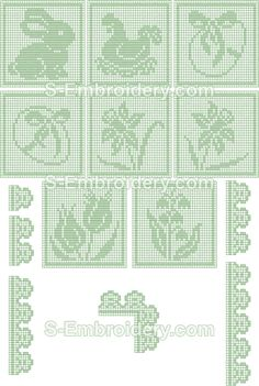 Easter embroidery designs - 10405 Free standing lace Easter crochet squares