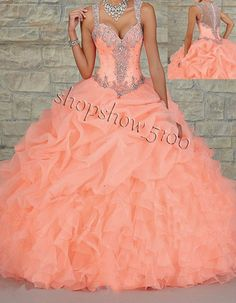 Beaded Straps Orange Quinceanera Ball Gown Wedding Party Evening Formal Dress in Bridesmaids' & Formal Dresses | eBay