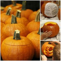 how to carve a pumpkin collage