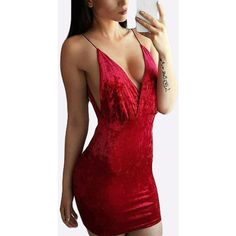 Yoins Red Velvet Plunge V-neck Cross Front & Backless Slip Dress (71 BRL) ❤ liked on Polyvore featuring dresses, red, deep v neck dress, red dress, plunging v neck dress, deep v-neck dress and low v neck dress