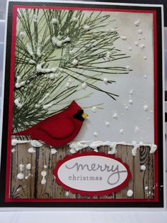 Stampin Up! Ornamental Pine, Hardwood, Endless Wishes and Bird Builder punch by … Stampin Up! Ornamental Pine, Hardwood, Endless Wishes and Bird Builder punch by Sharon Bridges. Cross reference with SU (mostly) Christmas cards board. Homemade Christmas Cards, Christmas Cards To Make, Homemade Cards, Handmade Christmas, Holiday Cards, Christmas Tree, Christmas Music, Christmas Vacation, Winter Christmas