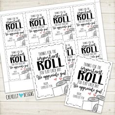 """Personalized """"Thanks for the important ROLL you play"""" Toilet Paper Gift Tags Employee Appreciation Gifts, Volunteer Appreciation, Popcorn Gift, Star Gift, Custom Tags, Gift Tags Printable, Gag Gifts, Joke Gifts, Craft Gifts"""