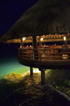 Dinner at Le Lotus, an overwater restaurant at the InterContinental #Tahiti Resort.
