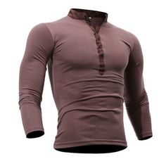 Mens Cotton Stand Collar T-shirt Buttons Breathable Long Sleeve Solid Color Tops - Newchic Mobile.