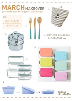 Trendy Reusable Lunch Gear! Crafting your lunch at home gives you all the say in the amounts, quality, and sources of your ingredients. #livepurely