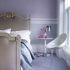 Master bedroom Greys and lilac stripes
