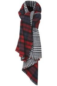Reversible Tartan & Dog Tooth Blanket Scarf