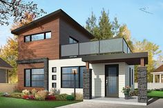 Contemporary Modern Elevation of Plan 76461