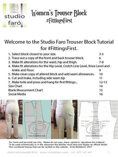 """This worksheet takes you through the first fitting your #TrouserBlockFitting Tutorial (Download)"""" #TrouserPatterns"""