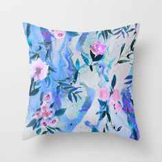 Floral+Marble+Swirl+Throw+Pillow+by+Nikkistrange+-+$20.00