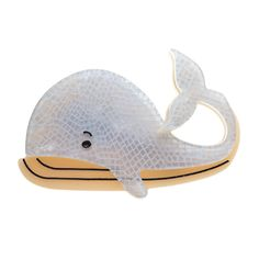Limited edition, original Erstwilder Wesley Whale brooch in grey. Designed by Louisa Camille Melbourne. Plastic Jewelry, Resin Jewelry, All Things Fabulous, Creature Comforts, Sea Fish, Marine Life, Lapel Pins, Pet Birds, Mammals