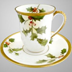 Limoges Christmas chocolate cup saucer exclusively at Victoria's Curio