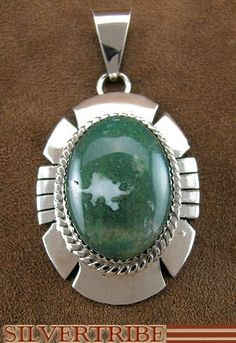Native American Navajo Moss Agate and Genuine Sterling Silver Pendant