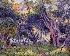 Dans les bois, huile sur toile de Henri Edmond Cross (1856-1910, France)