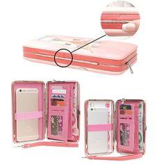 PU Casual Clutch 5.5 Inch Cartoon Functional Phone Wallet Case For iPhone Samsung Sony Huawei - Gchoic.com #bags #women #fashion #discount #popular #purse #handbags