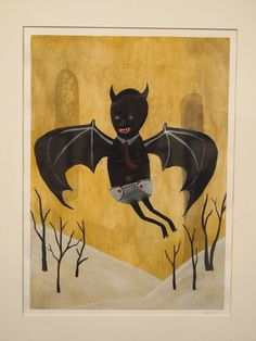 """""""Bat Rise,"""" by Tori Lin. Currently on display at Avenue 50 Studio!"""